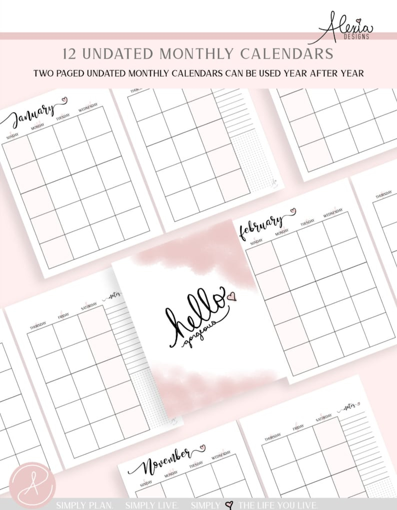Two Page Undated Monthly Calendar Printable Pdf   Etsy