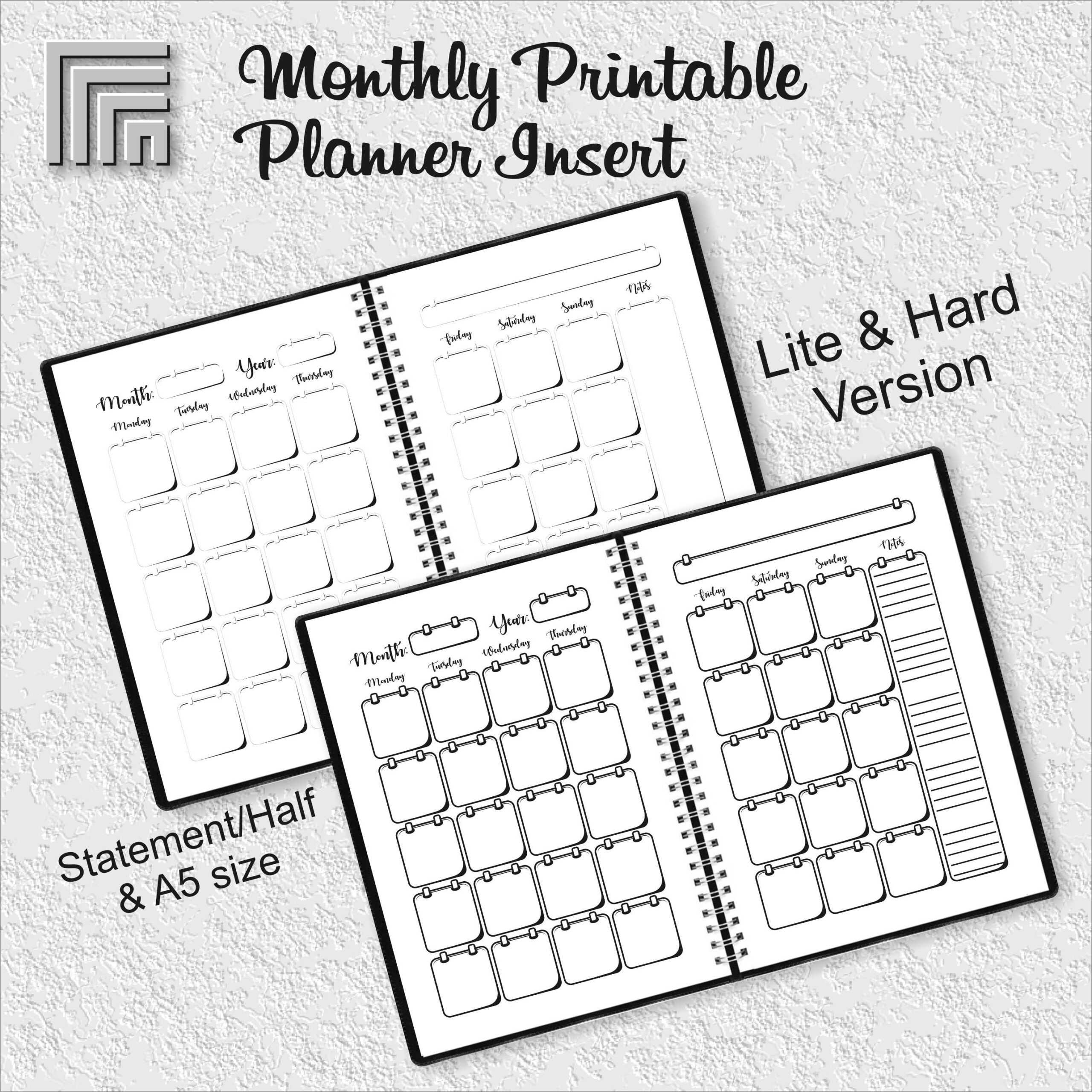 Undated Monthly Planner Insert, Month On Two Pages