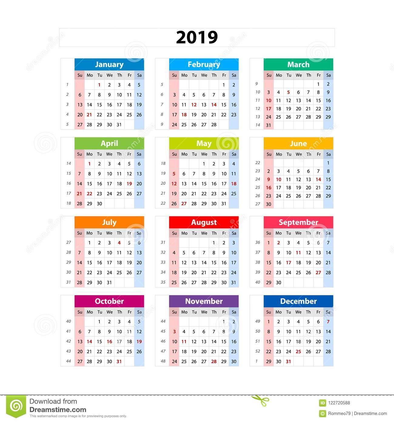 Vector Calendar 2019, Week Starts From Sunday, Business