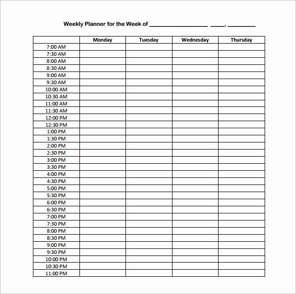 Weekly Hourly Planner Template Inspirational Hourly