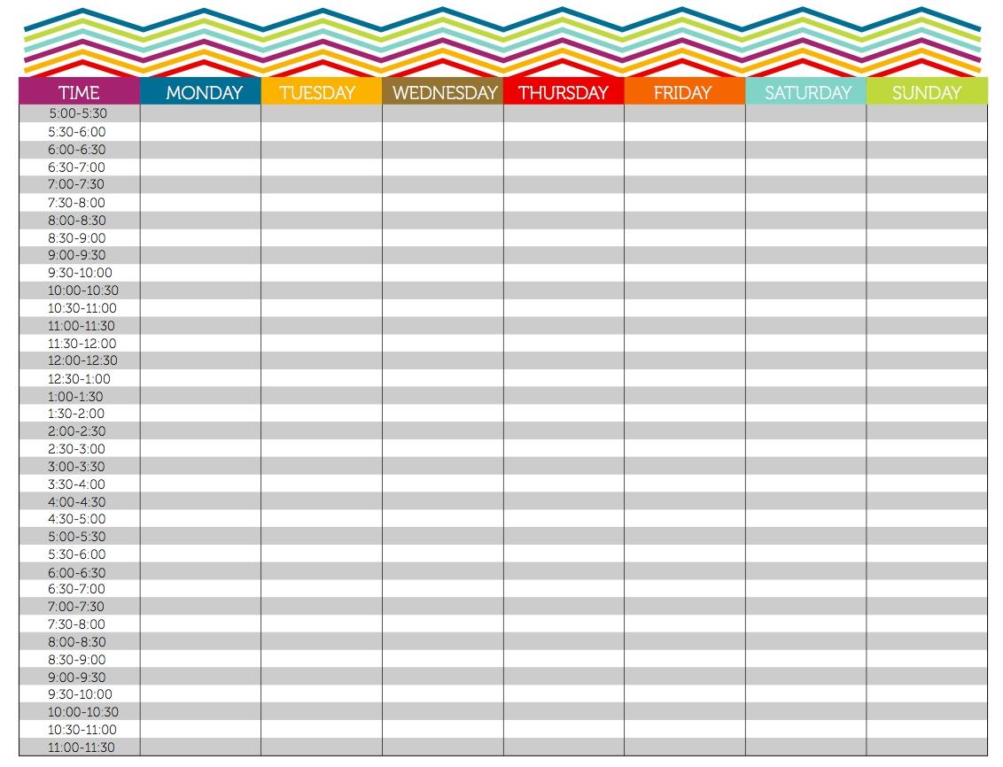 Weekly Planner In 15 Minute Slots - Calendar Inspiration
