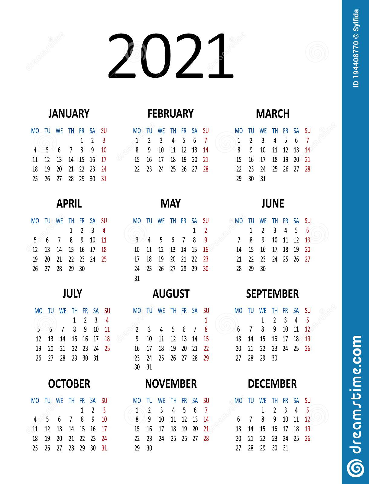 Yearly Calendar 2021. Week Starts From Monday. Vector